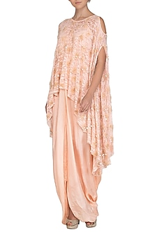 Baby Pink Embroidered Cape with Drape by Shalini Dokania