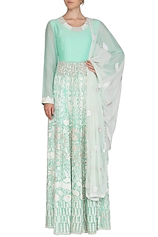 Mint Blue Embroidered Anarkali Set by Shalini Dokania