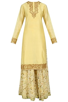 Light Yellow Embroidered Kurta with Floral Print Sharara Pants