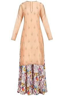 Old Rose Embroidered Kurta with Floral Print Sharara Pants