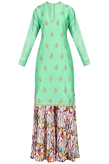 Aqua Green Embroidered Kurta with Floral Print Sharara Pants