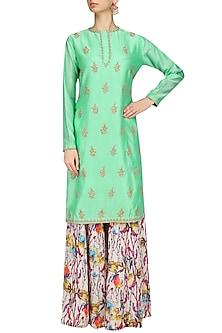 Aqua Green Embroidered Kurta with Floral Print Sharara Pants by Shalini Dokania