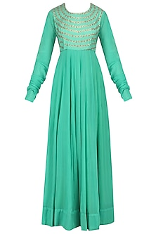 Aqua and Gold Sequins Embroidered Anarkali Kurta Set
