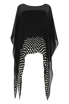 Black Coin Embellished Asymmetrical Cape