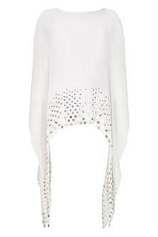 White Coin Embellished Asymmetrical Cape by Shirrin Design Co.