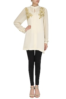Cream Embroidered Tunic by Shirrin Design Co.