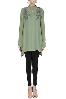 Sage Green Embroidered Tunic by Shirrin Design Co.