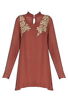 Sage Brick Red Embroidered Tunic