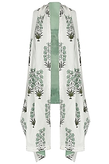 White and Green Printed Asymmetrical Shrug