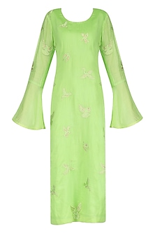 Mint Spunsilk Embroidered Kurta and Dupatta