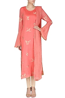 Coral Spunsilk Embroidered Kurta and Dupatta by Shirrin Design Co.