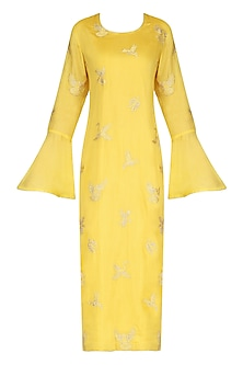 Yellow Spunsilk Embroidered Kurta and Dupatta