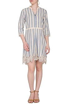 Off White Hand Woven & Printed Mini Dress by Sejal Jain