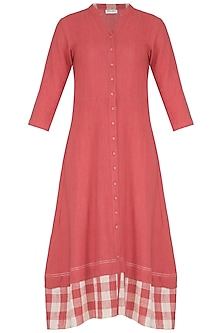 Red Hand Woven & Printed Midi Dress by Sejal Jain