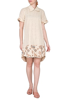 Off White Hand Woven & Printed Scallop Collared Mini Dress by Sejal Jain