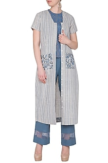Sky Blue Top With Pants & Printed Cape by Sejal Jain