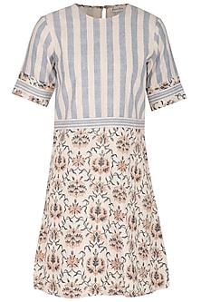 Off White Hand Block Printed Mini Dress by Sejal Jain