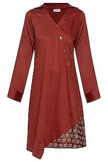 Maroon embroidered printed dress