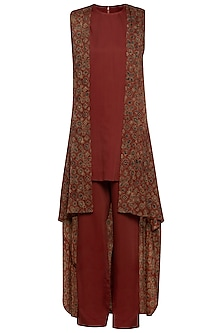 Maroon embroidered cape with top and pants by SEJAL JAIN