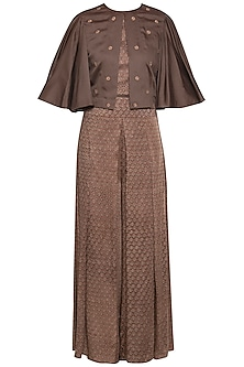 Mud embroidered cape with top and palazzo pants
