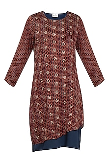 Maroon and blue embroidered layered dress