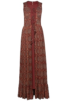Maroon embroidered printed gown