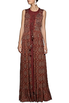 Maroon embroidered printed gown by SEJAL JAIN