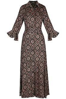 Black embroidered shirt maxi dress