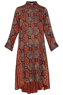 Maroon embroidered shirt dress