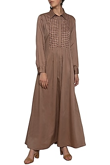 Mud embroidered printed maxi dress by SEJAL JAIN