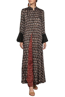 Black and maroon embroidered cape with top and pants by SEJAL JAIN