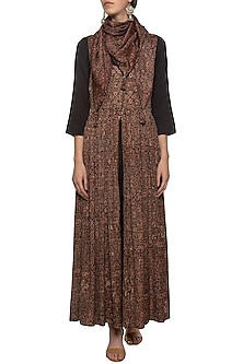 Black embroidered printed gown with scarf by SEJAL JAIN