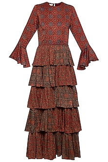 Maroon embroidered printed ruffles gown by SEJAL JAIN