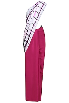 Fuchsia Pink, White and Black Pure Silk Clamp Dyed Saree