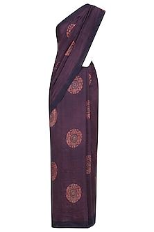 Purple, Indigo and Red Pure Silk Ajrakh Printed Saree