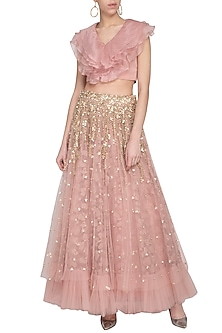 Blush pink embroidered lehenga skirt with top by Sanya Gulati