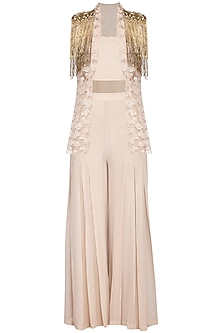 Beige embroidered jacket with palazzo pants and bustier