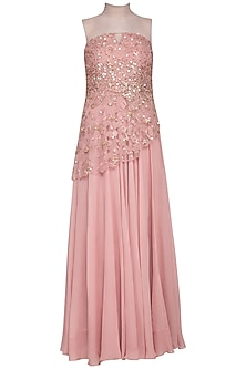 Blush pink embroidered gown with bustier