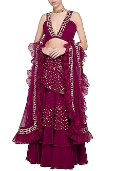 Wine embroidered lehenga set by Sanya Gulati
