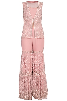 Blush pink embroidered sharara pants with jacket and bustier