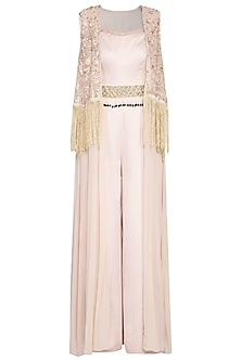 Beige jumpsuit with embroidered cape and belt