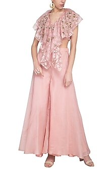 Blush pink embroidered top with palazzo pants by Sanya Gulati