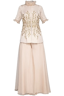 Beige embroidered jacket with pants