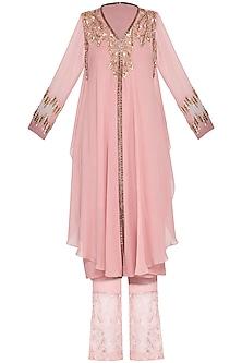 Blush pink embroidered kurta with pants by Sanya Gulati