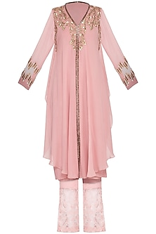 Blush pink embroidered kurta with pants by Sanya Gulati
