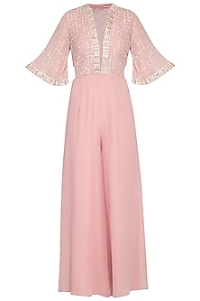 Blush pink embroidered sequins jumpsuit