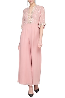 Blush pink embroidered sequins jumpsuit by Sanya Gulati