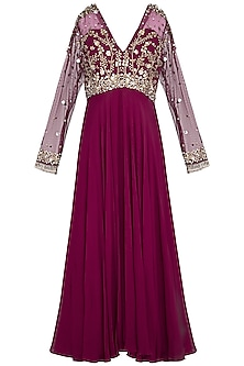 Wine embroidered anarkali gown by Sanya Gulati