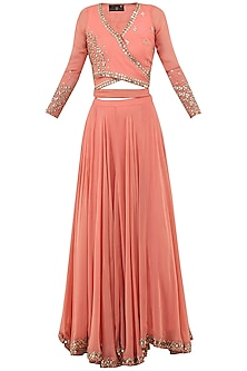 Dusty Peach Embroidered Wrap Crop Top with Lehenga Skirt Set