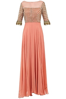 Dusty Peach Embroidered Anarkali Gown